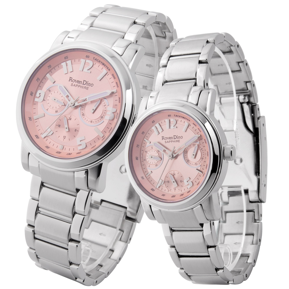 Roven Dino永恆光燦三眼時尚對錶粉紅