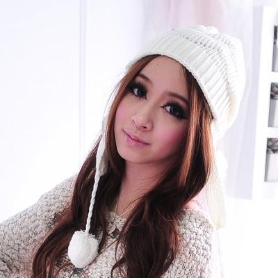 Aimee Toff 新鮮發行混風飛行針織毛帽(米白)