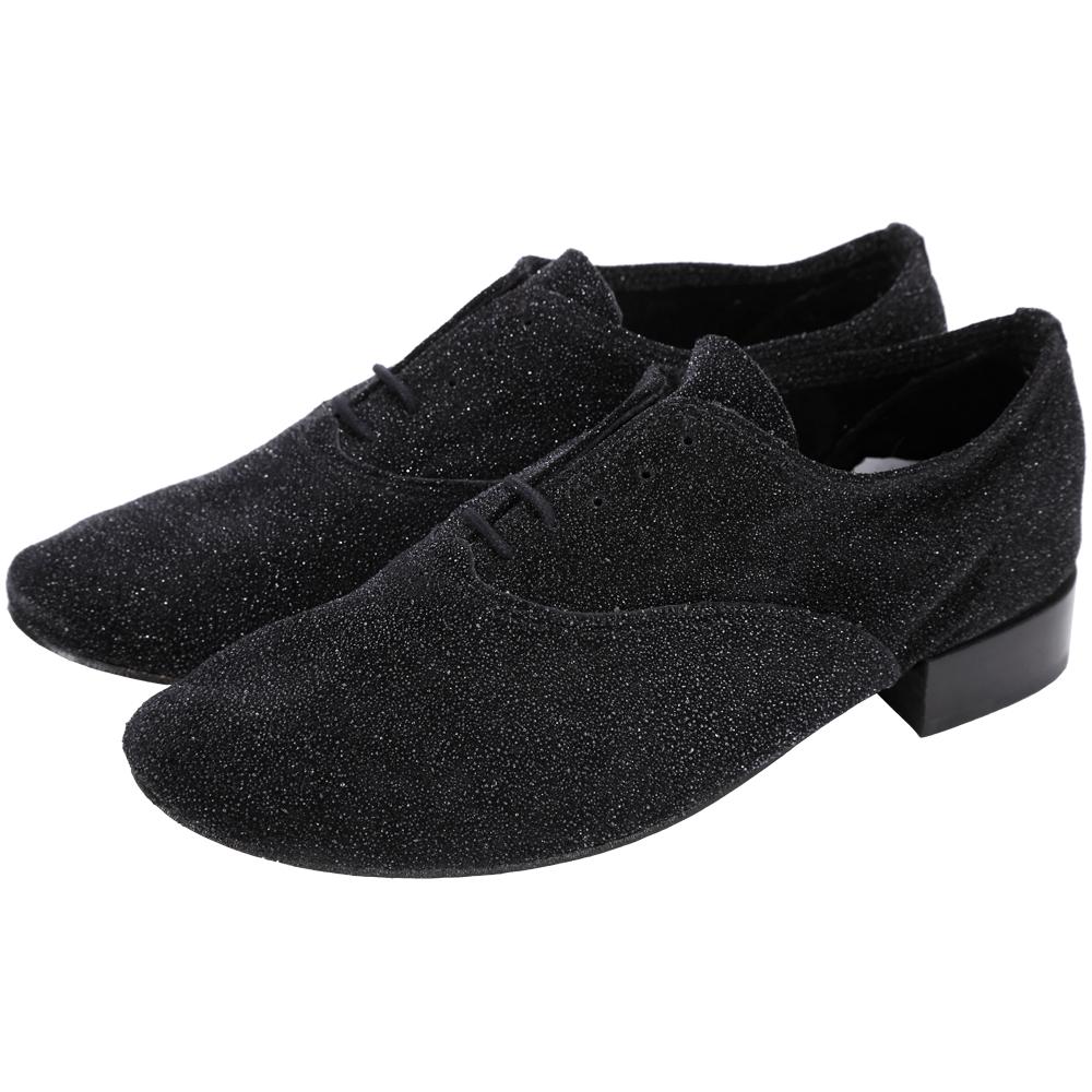 Repetto Francesine Zizi 黑鑽霧面皮紋牛津鞋