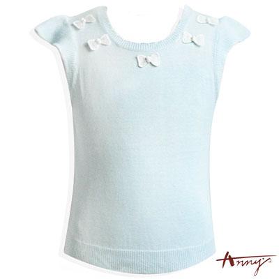 毛線蝴蝶結領荷葉袖短版上衣*4184水藍