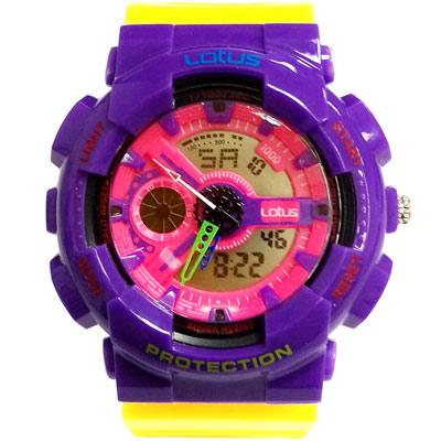 Lotus 街頭潮男 計時鬧鈴雙顯運動錶(LS-1026-07)-黃紫/52mm