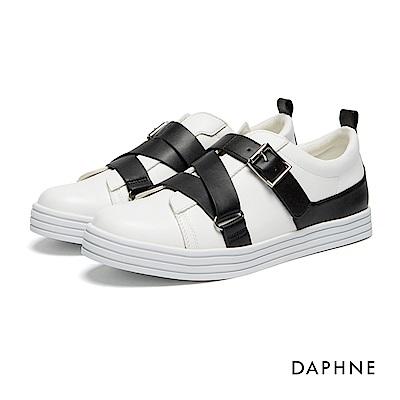 達芙妮DAPHNE 休閒鞋-交叉皮帶釦飾魔鬼氈休閒鞋-白