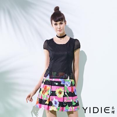 YIDIE衣蝶 假兩件網格印花百褶短洋裝