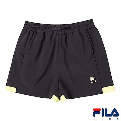 FILA KIDS 女童平織彈性短褲-鐵灰 5SHS-4323-RG