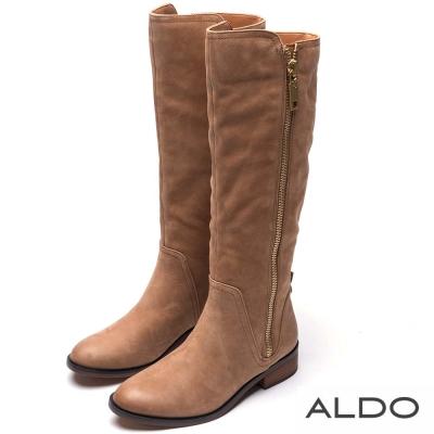 ALDO 優雅百搭真皮金屬拉鍊木紋粗跟長靴~個性淺棕