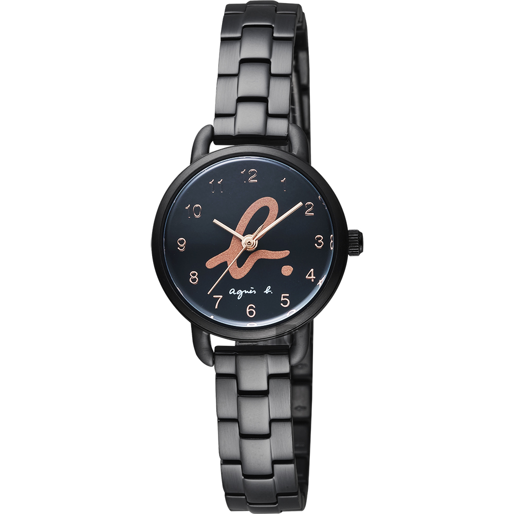 agnes b. 巴黎城市限定女錶(BH8043X1)-黑x玫塊金字/27mm