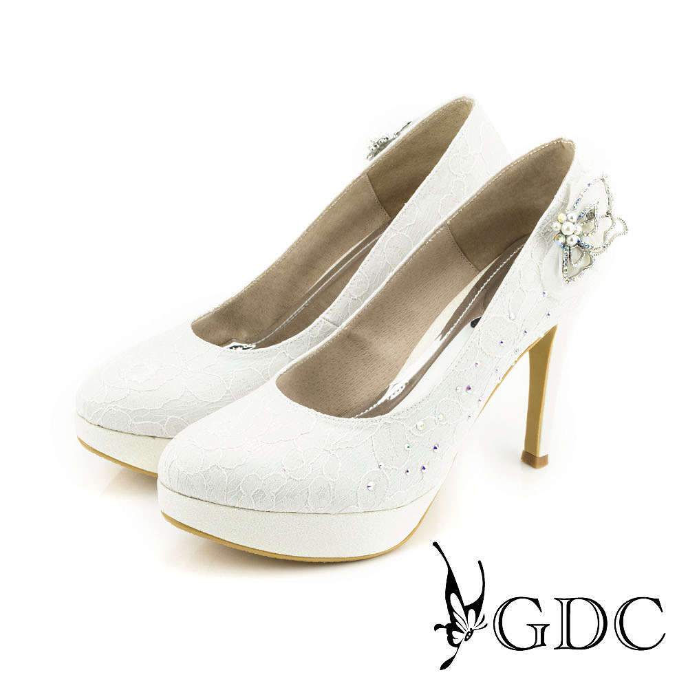 GDC-幸福唯美蕾絲水鑽花朵立體蝴蝶超高跟鞋(婚鞋)-白色