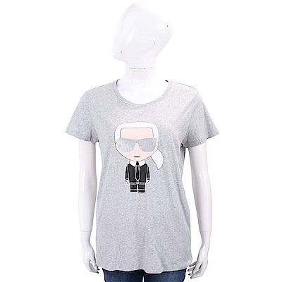 Karl Lagerfeld IKONIK 經典老佛爺圖騰灰色棉質T恤