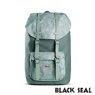 BLACK SEAL 聯名8848系列-撞色拼接雙皮帶釦機能大容量後背包- 嫩綠色