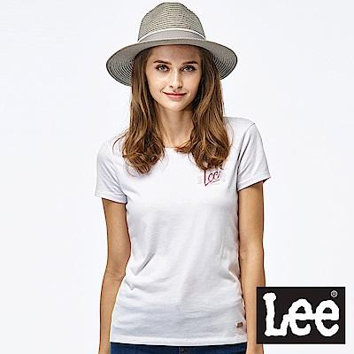 Lee LEE CAF?亮片短袖圓領TEE-女款-白色