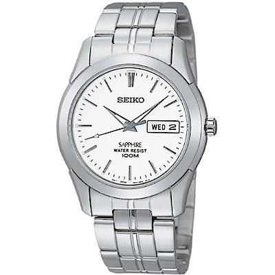 SEIKO 經典藍寶石水晶鏡面鋼帶錶(白)