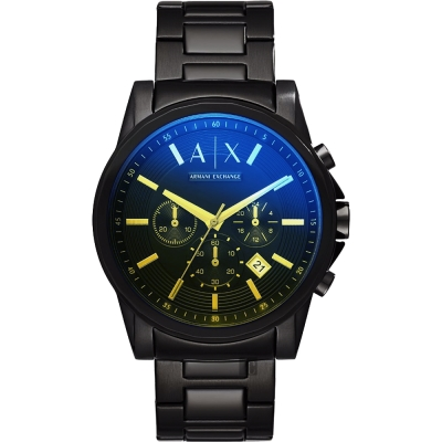 A│X Armani Exchange 雅痞炫光計時手錶-鏡面藍x黑/44mm