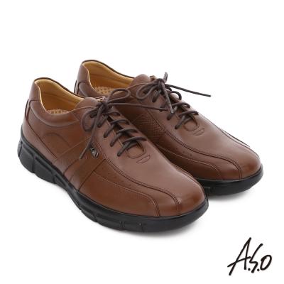 A.S.O 輕旅健步 真皮綁帶奈米氣墊皮鞋 茶