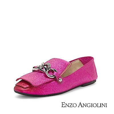 ENZO ANGIOLINI--金屬鍊條復古方頭樂福平底鞋-亮眼桃紅