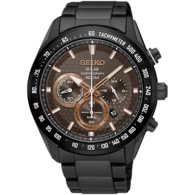 SEIKO精工 Criteria 太陽能計時手錶(SSC587P1)-鍍黑/43mm
