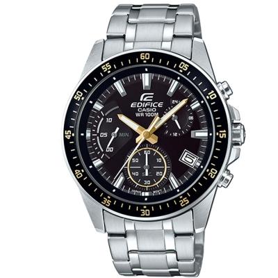 EDIFICE魅力釋放簡約時尚三針三眼指針錶(EFV-540D-1A9)金刻43.8mm