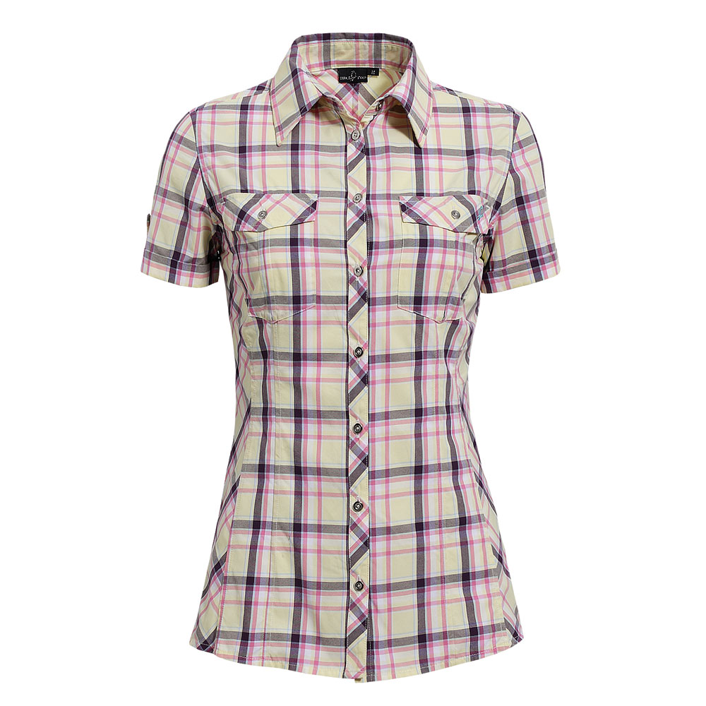 【hilltop山頂鳥】女款吸濕快乾短袖襯衫S06F50-黃/粉紅格子