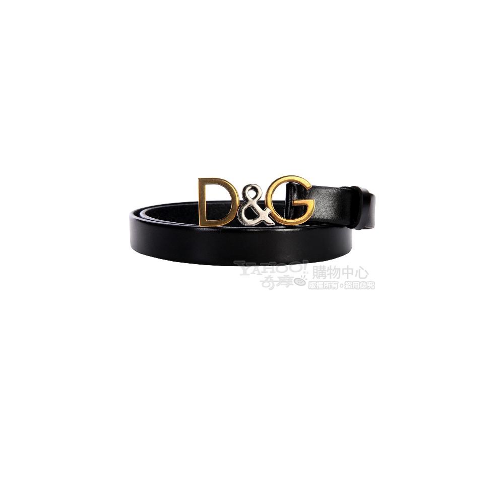 DOLCE & GABBANA 仿舊金屬logo窄版皮帶(黑色)