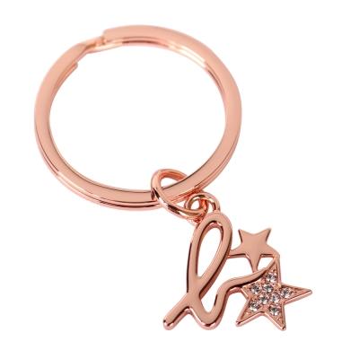 agnes b. 小b logo水鑽星星鑰匙圈-玫瑰金