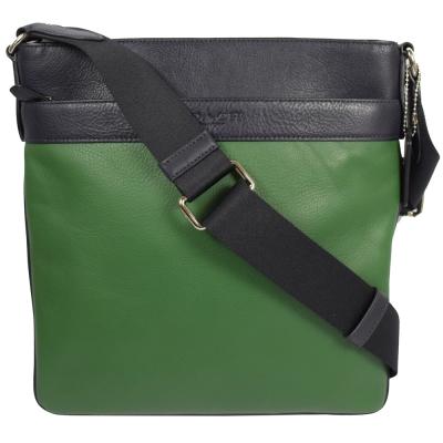 COACH-經典LOGO烙印撞色皮革中性斜背包-綠-黑