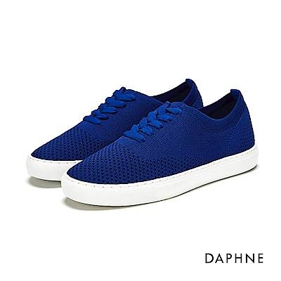 達芙妮DAPHNE 休閒鞋-縷空編織繫帶休閒鞋-藍