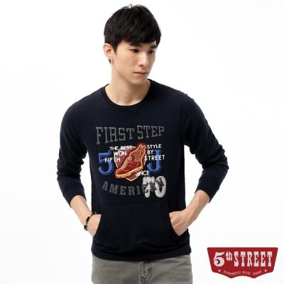 5th-STREET-學院風印繡厚棉T恤-男-丈青色