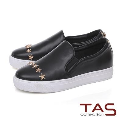 TAS星星鉚釘厚底休閒懶人鞋-個性黑