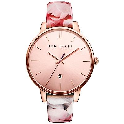 Ted Baker 花漾英倫時尚皮革手錶-玫瑰金/40mm