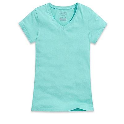 101原創 經典水洗原色V領素T恤-女-碧綠
