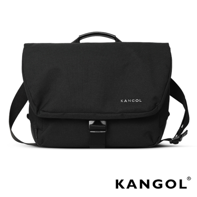 KANGOL韓國IT男爵系列手提-肩背兩用防盜郵差包-背帶可拆-混織黑