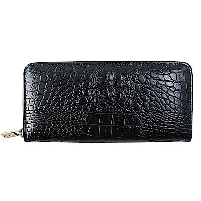 Sika義大利時尚牛皮壓鱷魚紋拉鍊長夾S8236-03質感黑