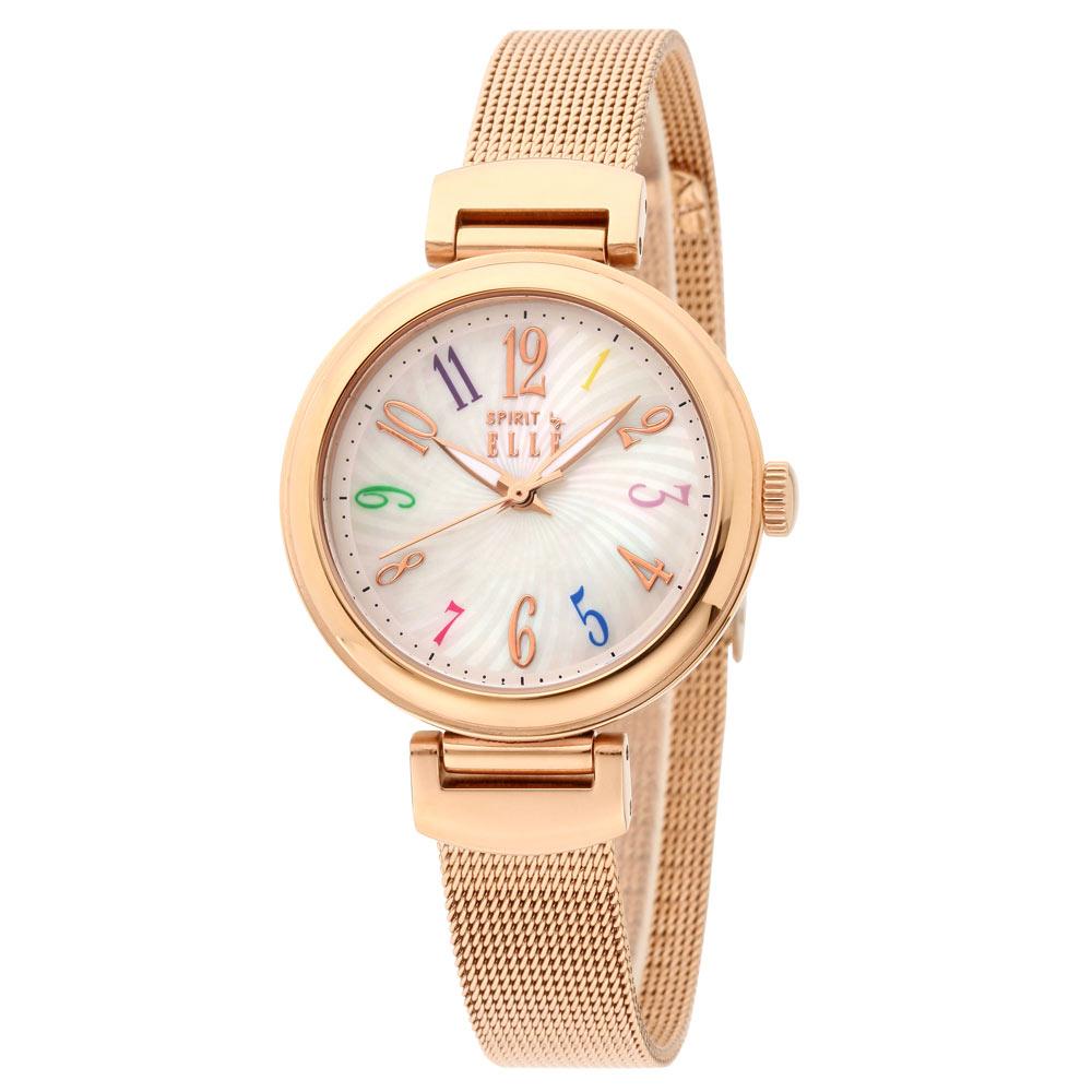 ELLE 撞色指針米蘭不鏽鋼錶-玫瑰金X白/32mm