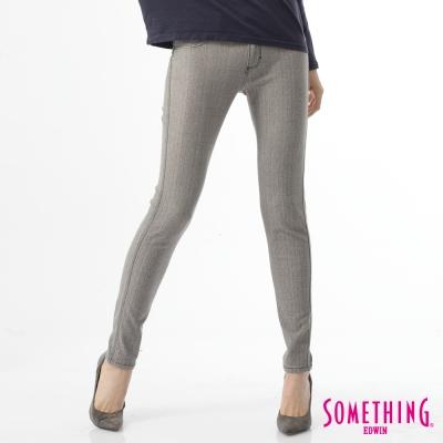 SOMETHING 窄直筒 LADIVA合身保溫色褲-女-褐色斜紋