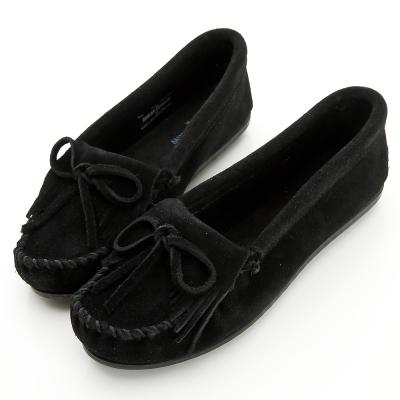 MINNETONKA 黑色麂皮素面莫卡辛 女鞋
