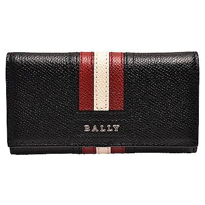 BALLY 經典TALTOS系列紅白紅條紋小牛皮釦式鑰匙包(黑色)