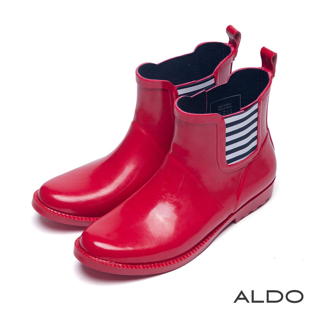 ALDO 仙履奇緣原色系漆皮幾何條紋中筒雨靴~迷情紅色