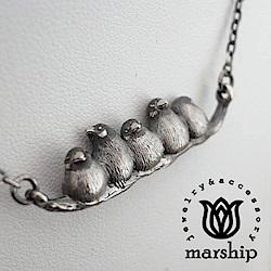 Marship 日本銀飾品牌 文鳥項鍊 成群結隊款 925純銀 古董銀款