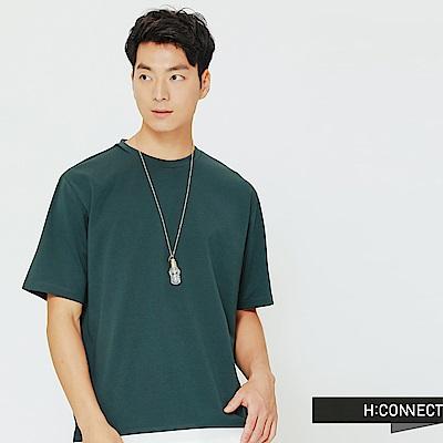 H:CONNECT 韓國品牌 男裝-下擺拼接純色圓領上衣-綠