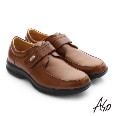 A.S.O 頂級氣墊 真皮奈米魔鬼氈紳士鞋 茶色