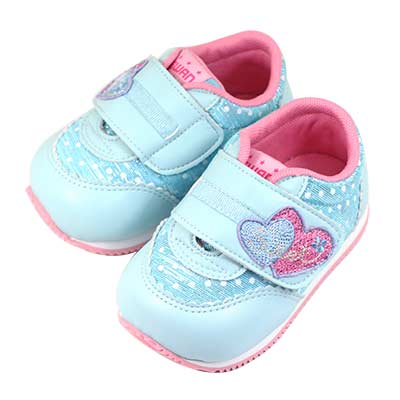Swan天鵝童鞋-閃亮甜蜜愛心機能學步鞋 1552-藍