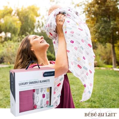 美國 Bebe Au Lait oh-so-soft 天絲棉紗布包巾2入禮盒 (小冰棒)