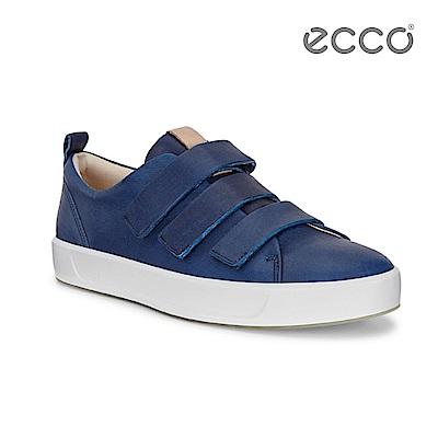 ECCO SOFT 8 MEN'S 牛仔藍染簡約休閒鞋-藍
