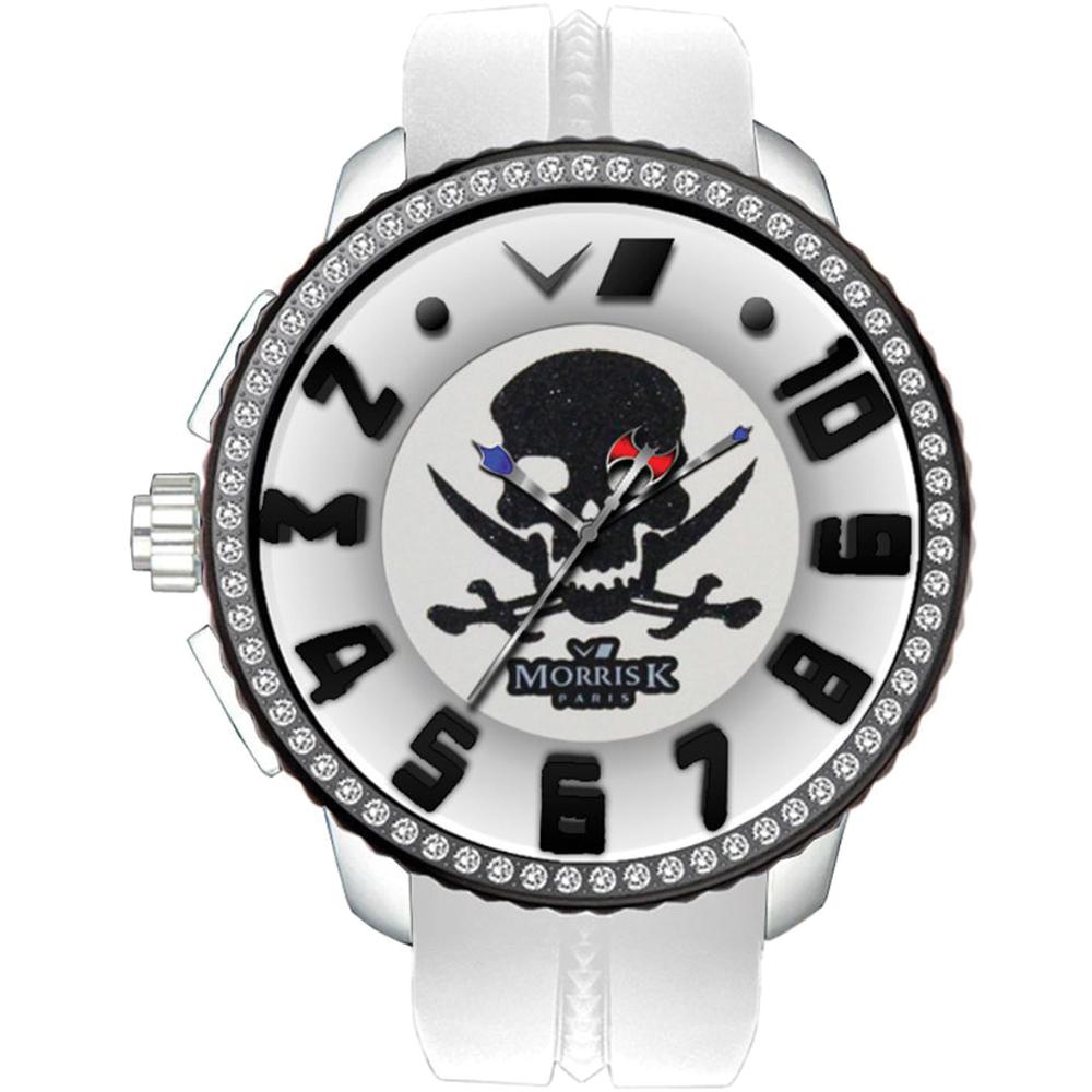 MORRIS K 骷顱頭 逆跳指針晶鑽休閒錶-白黑/50mm