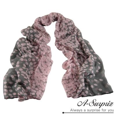 A-Surpriz 優雅點點加大巴黎紗圍巾(粉灰系)
