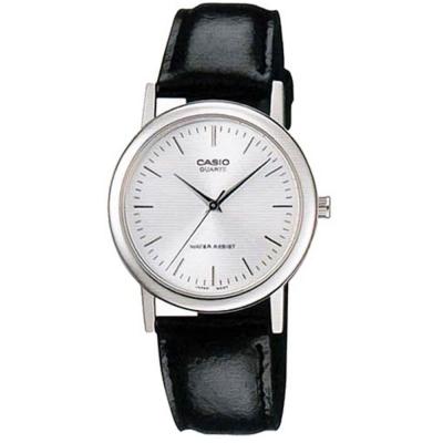 CASIO經典簡約時尚皮帶紳士腕錶MTP-1095E-7A-白面x黑35mm