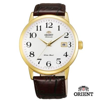 ORIENT 東方錶 DATE系列 日期顯示機械錶-白x金色框/41mm