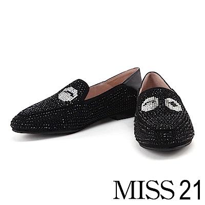 跟鞋 MISS 21 璀璨時尚水鑽大眼造型低跟鞋-黑