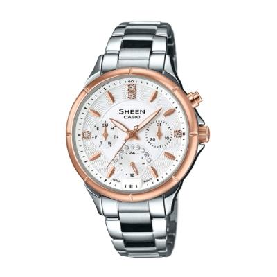 SHEEN經典華洛世奇水晶超亮LED照明腕錶(SHE-3047SG-7A)玫瑰金35.3mm