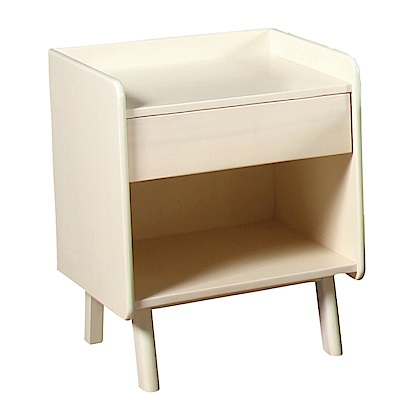 品家居 安德莉1.6尺洗白淺木紋單抽床頭櫃-50x45x55cm-免組