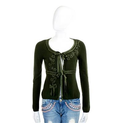 MOSCHINO 深綠色緞面花朵飾針織羊毛外套